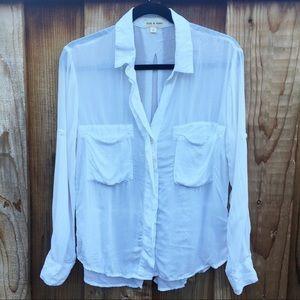 Anthropologie Cloth & Stone Rayon White Camp Shirt
